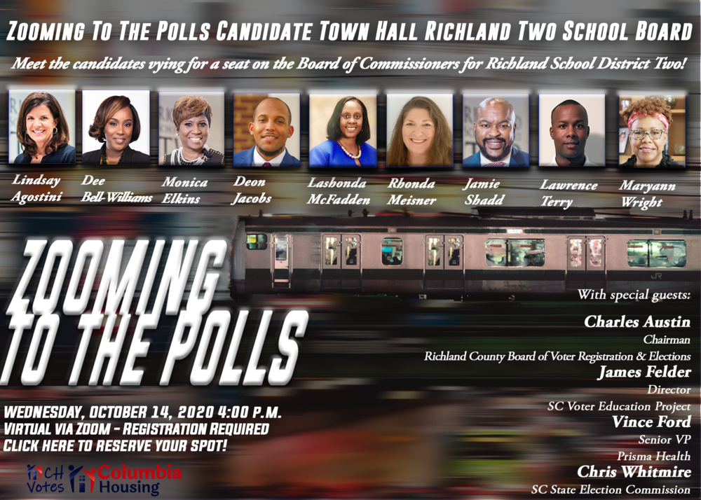 Zooming to the Polls October 14, 2020. Richland 2 School Board Candidates virtual forum. 4pm via zoom.