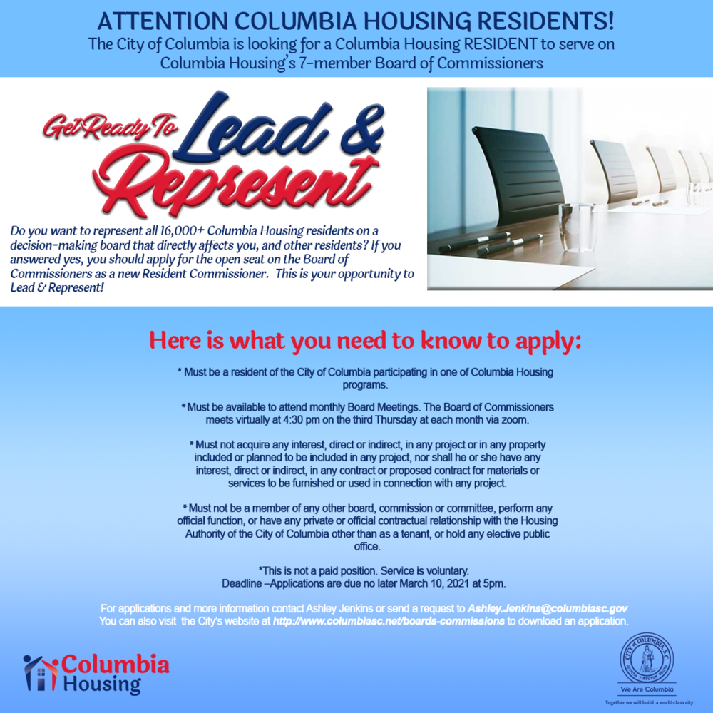City of Columbia taking applications for CH Resident Commissioner