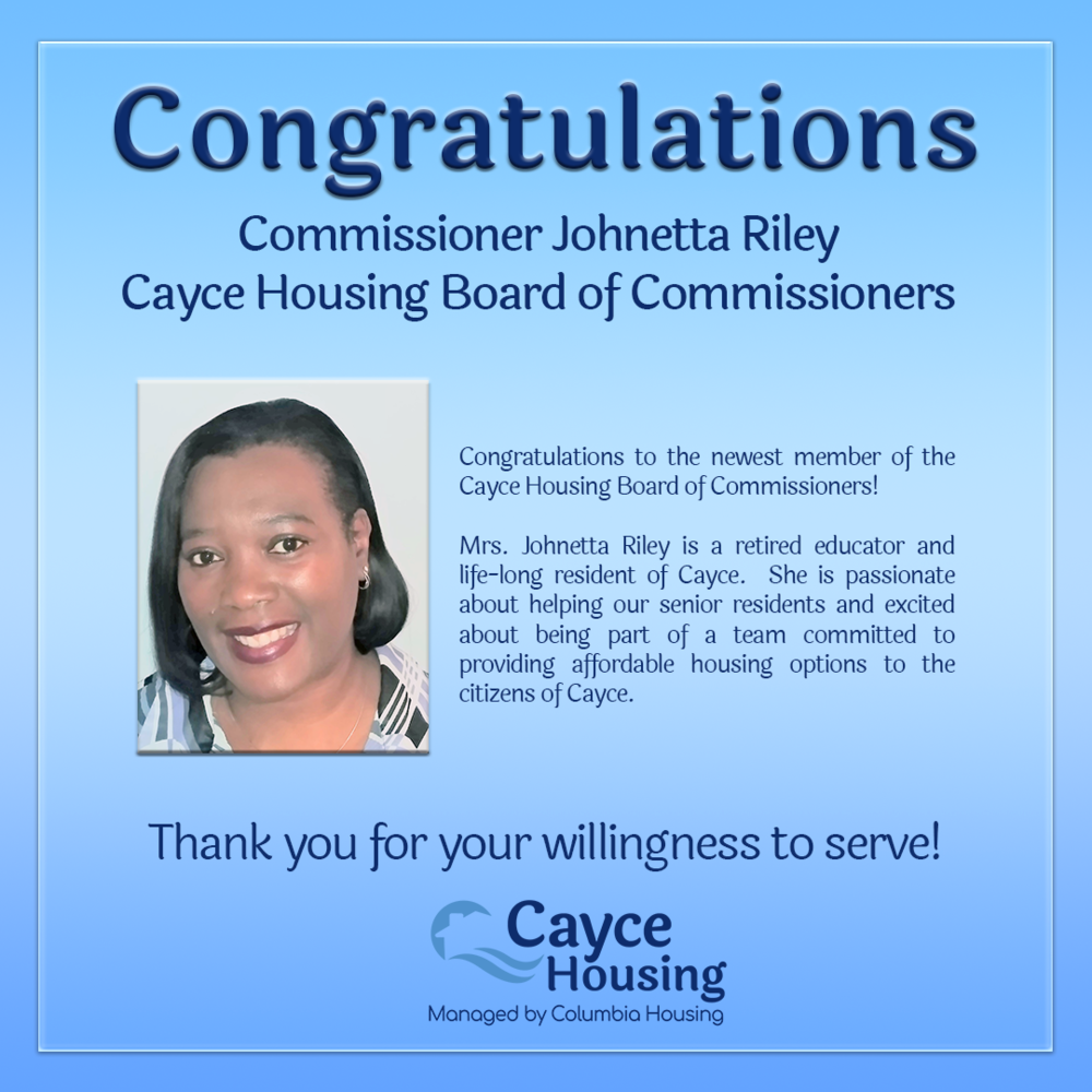 Newest Cayce Housing Board Commissioner Johnetta Riley