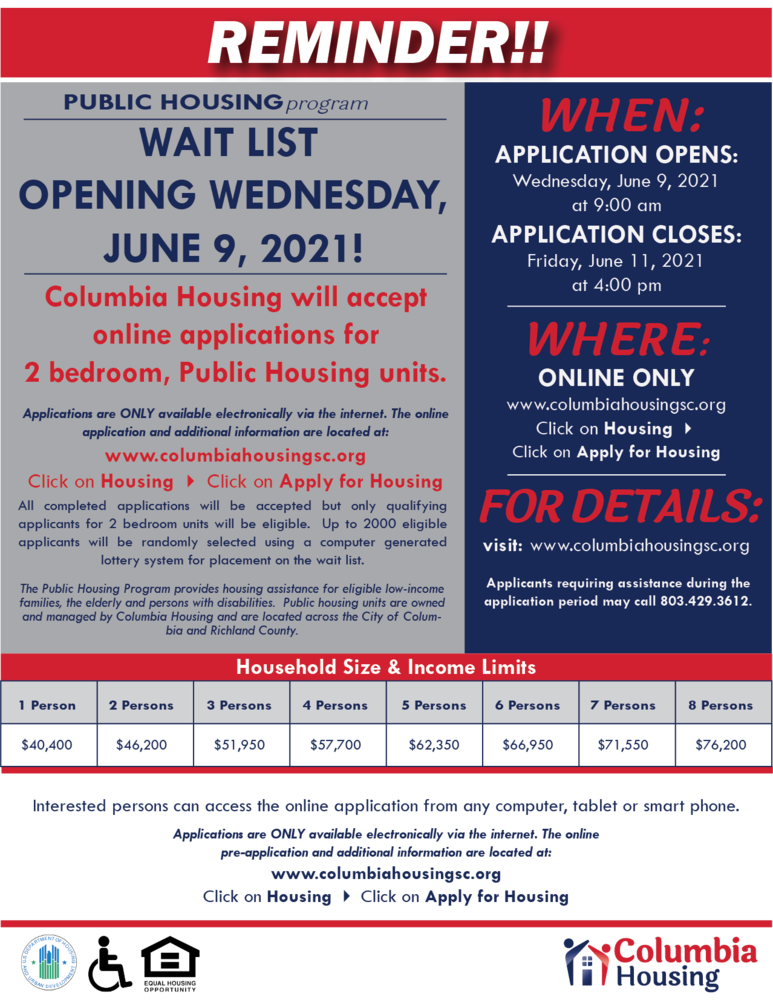 Columbia Housing Opens Wait List for 2 Bedroom Public Housing Units